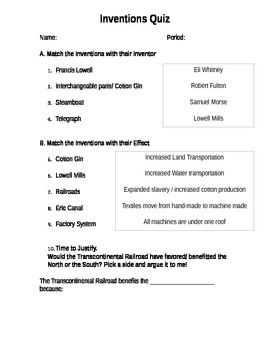 Inventions Quiz for Industrial Revolution