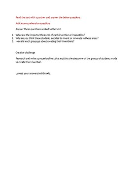 Inventions Reading task