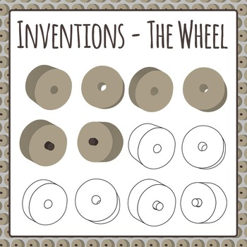 Inventions - The Wheel - Stone Age Wheel Clip Art Pack Commercial Use