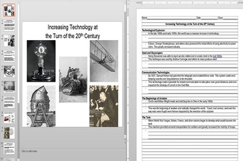 Inventions and Innovations of the Early 20th Century Powerpoint AND Worksheet