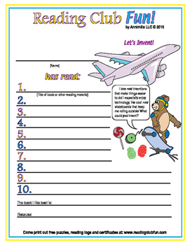 Inventions and Inventors Reading Log and Certificate Set