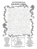 Inventions from Ancient China word search worksheet puzzle