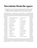 Inventions from the 1920s Search Activity