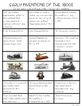 Inventions of the 1800s: Telegraph, Steamboat, Steam Engine Sorting Activity