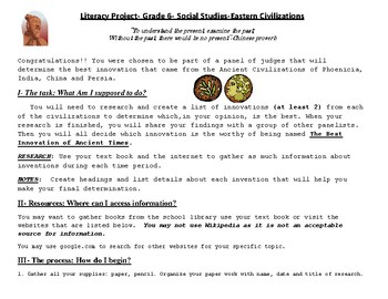 Inventions project- Eastern Civilizations