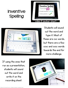 Inventive Spelling Digital Task Cards - Paperless for Google Use