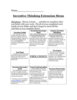 Inventive Thinking Extension Menu