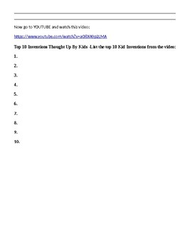 Inventor and Inventions Internet scavenger hunt