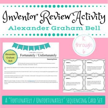 Inventor biography review sequencing card activity