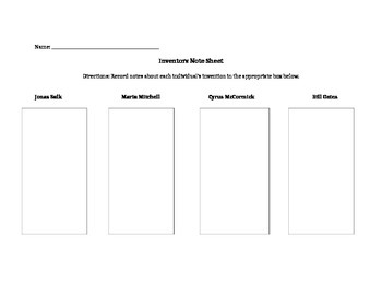 Inventors Graphic Organizer