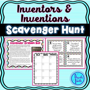 Inventors & Inventions Scavenger Hunt - Bell, Whitney, Edison, Ford, Franklin