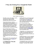 Inventors and Inventions: 7 Ways the Printing Press Changed the World (no prep)