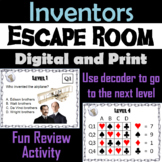 Inventors and Inventions: Escape Room - Social Studies