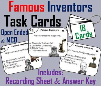 Inventors and Inventions Task Cards and Activities Bundle