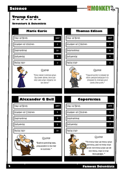 Inventors and Scientists Trumps Card Game
