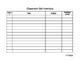 Inventory Form for Classroom Novel/Book Sets