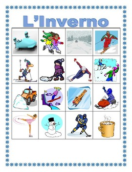 Inverno (Winter in Italian) Bingo