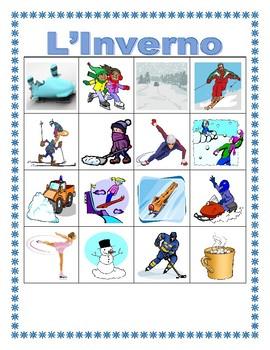 Inverno (Winter in Italian) Bingo