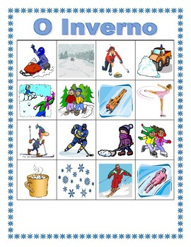 Inverno (Winter in Portuguese) Bingo