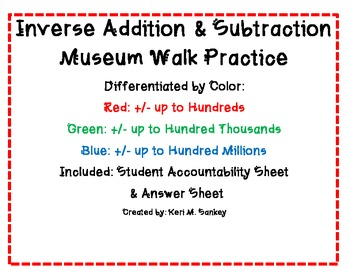 Inverse Addition & Subtraction Museum Walk