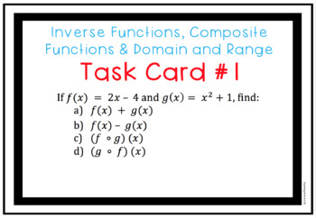 Inverse & Composite Functions, Domain and Range Task Cards with Digital Version