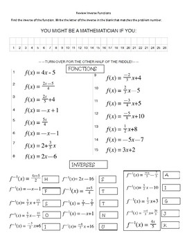 Inverse Functions   Identifying Pairs by We're Bruyn Math   TpT likewise  besides Inverse Functions Worksheet 3  7  12  13  15  17  21  23   YouTube in addition Inverse Function Activity by Hipke's High Math Activities moreover alge and functions worksheets as well  as well Inverse Functions Worksheet Answers   Winonarasheed further Alge 2 Worksheet Answers Inspirational Inverse Functions as well Calculus 1 5 Inverse Functions Worksheet Name as well Inverse Function Word Problems Worksheet Elegant Two Step Equation moreover  besides  in addition piecewise functions practice worksheet with answers math additionally Pre Alge Worksheets With Answers Word Problems All Operation further Graphing Rational Functions Worksheets Worksheet Doc likewise Inverse of Quadratic Function   ChiliMath. on inverse functions worksheet with answers