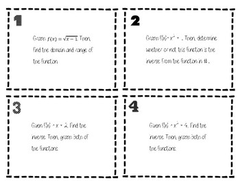 Inverse Function Task Cards