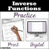 Inverse Functions PRACTICE | DIGITAL and PRINT