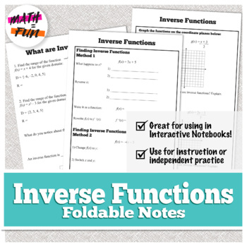 Inverse Functions Foldable for Algebra 1: HSF.BF.B.4