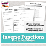 Inverse Functions Foldable for Study and Practice | High School Algebra