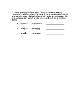 Inverse Functions - Graphing Calculator Activity