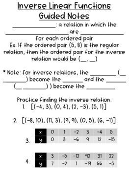 Inverse Functions & Relations Guided Notes