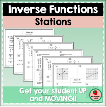 Inverse Functions Stations Activity - Review - Test Prep -