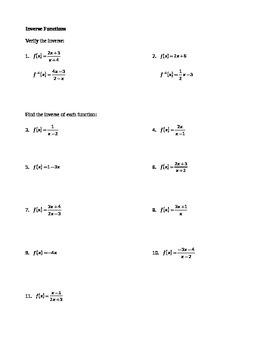 Inverse Functions Worksheet