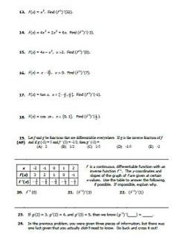 Inverse Functions and Derivatives
