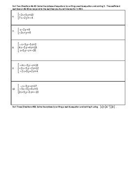 Inverse Matrices and Matrix Equations Worksheet