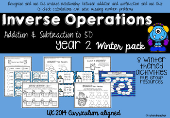 Inverse Operations Addition & Subtraction to 50 Winter Pack UK Curriculum 2014