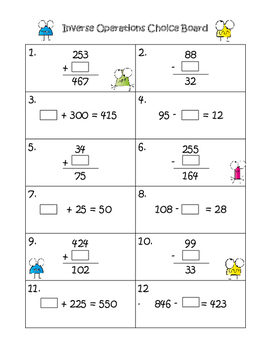 Inverse Operations Addition and Subtraction Choice Board