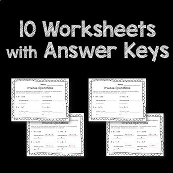 Inverse Operations Pre Algebra Posters, Worksheets, Flash Cards
