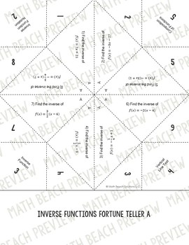 Inverse Relations and Functions Fortune Teller Activity