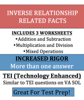 Inverse Relationship Multiplication, Divison, Addition, Su