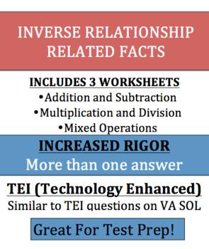 Inverse Relationship Multiplication, Divison, Addition, Subraction - VA SOL