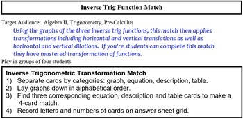 Trig graphs teaching resources teachers pay teachers inverse trig graph match inverse trig graph match fandeluxe Gallery
