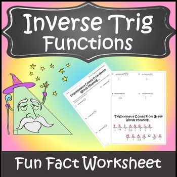 Inverse Trigonometric Functions Activity Trigonometry Activity