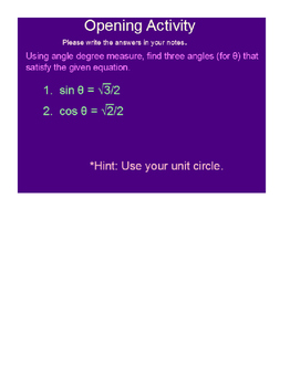 Inverse Trig Functions SmartBoard Lesson