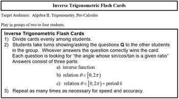 Inverse Trig Ratio Flash Cards