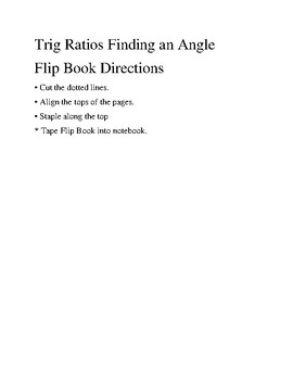Inverse Trig Ratios | Finding a Missing Angle Flipbook Notes