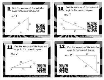 Trigonometry Inverse Trig Ratios of Right Triangles Task Cards