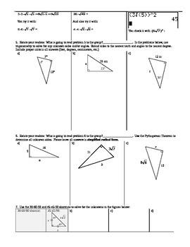 Inverse Trigonometric Functions Spring 2014 (includes Trigonometry Ratios Chart)