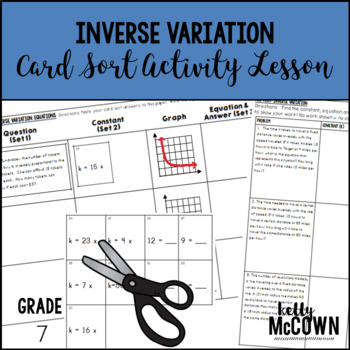 Inverse Variation Card Sort Activity Lesson